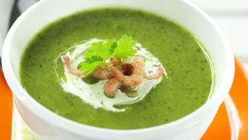 courgette paprika soep met garnalen